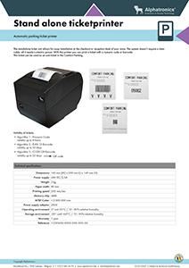 Alphatronics technical data stand alone ticket printer