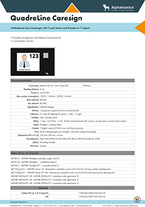 Alphatronics technische fiche - deurbode met 1 drukknop